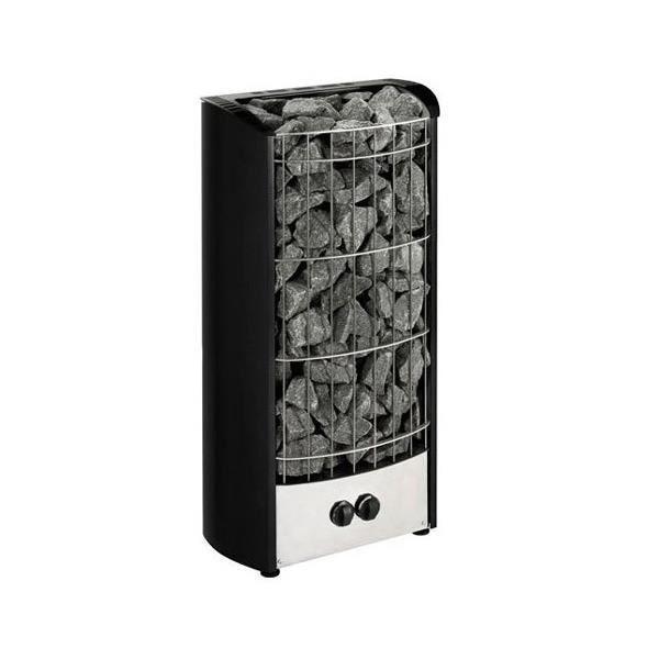 Poêle électrique noir de la marque Harvia avec deux boutons