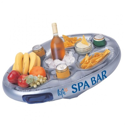 Bar gonflable flottant avec boissons, chips et fruits